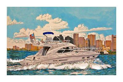 Cruising On Yachts Drawing - Boston Bound by Jack Pumphrey