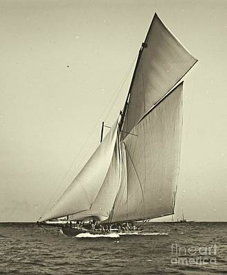 Sail Racing Photograph - Yacht Shamrock Racing Americas Cup 1899 by Padre Art