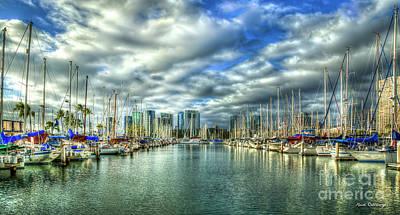 Photograph - Yachts Ala Wai Harbor Waikiki Yacht Club Honolulu Hawaii Collection Art by Reid Callaway