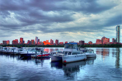 Yachts Docked On The Charles River - Boston Art Print