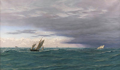 Boats In Water Painting - Yachts In A Seaway, Mediterranean, 1871 by John Brett