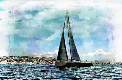 Yachts, Sailing Boat Titan, Art Print by Jean Francois Gil