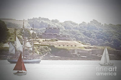 Photograph - Yachts Passing St Mawes Castle Cornwall by Terri Waters