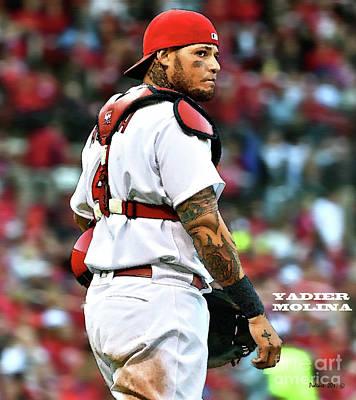 New York Yankees Mixed Media - Yadier Molina, St. Louis Cardinals by Thomas Pollart
