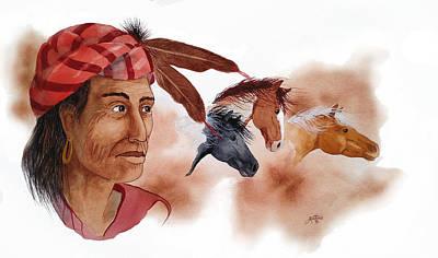 Mixed Media - Yahula And His Horses by John Guthrie