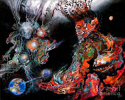 Visionary Art Painting - Yahweh And Lucifer's Game by Steve Griffith