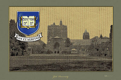 Digital Art - Yale University Building Overlaid With 3d Coat Of Arms by Serge Averbukh