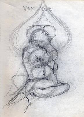 Hindu Goddess Digital Art - Yam Yub Drawing by Stephen Carver
