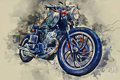 Mixed Media - Yamaha Motorbike by Ian Mitchell