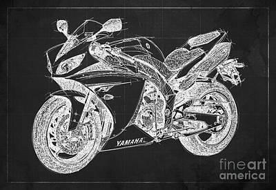 Black Background Mixed Media - Yamaha R1 Blueprint Dark Grey Background by Pablo Franchi