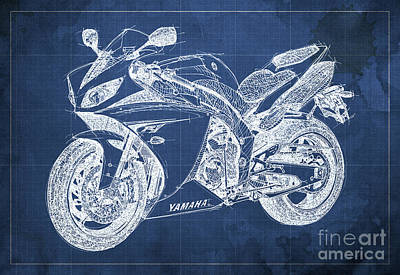 Birthday Gift Drawing - Yamaha R1 Blueprint by Pablo Franchi