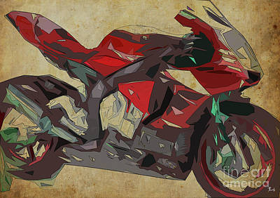 Digital Art - Yamaha Yzf-r1 2015 Abstract Red Motorcycle Print For Man Cave Or Man Office by Pablo Franchi