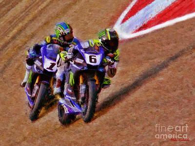 Photograph - Yamaha's Superbike Cameron Beaubier Leads Josh Hayes by Blake Richards