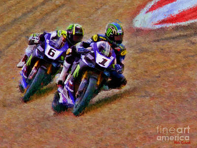Photograph - Yamaha's Superbike Josh Hayes Leads Cameron Beaubier  by Blake Richards