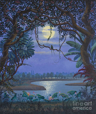 Devotional Art Painting - Yamuna At Night by Vrindavan Das