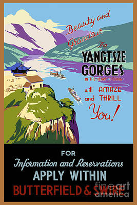 Painting - Yangtsze Gorges Will Amaze And Thrill You Vintage Travel Poster by R Muirhead Art