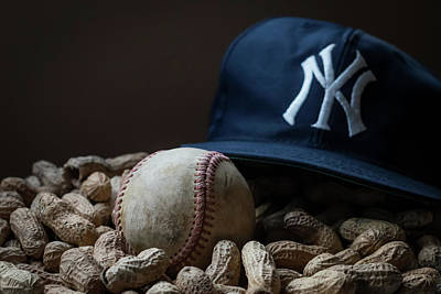 Baseball Art Photograph - Yankee Cap Baseball And Peanuts by Terry DeLuco