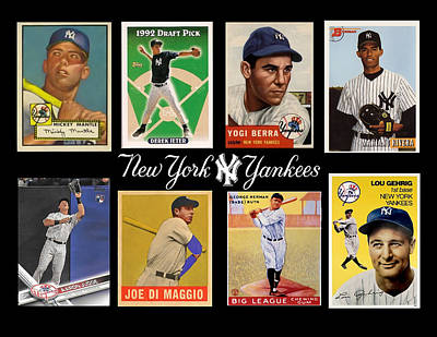 Mickey Mantle Digital Art - Yankee Cardboard Greats by Paul Van Scott