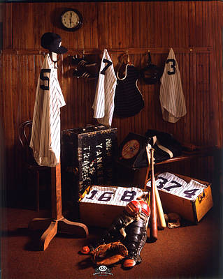 Casey Stengel Photograph - Yankee Clubhouse by David M Spindel