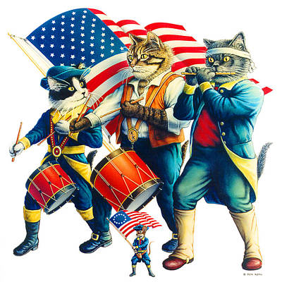 Painting - Yankee Doodle Tabby by Don Roth