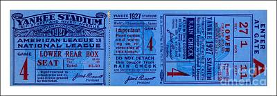 Babe Ruth Drawing - Yankee Stadium 1927 World Series Ticket Babe Ruth Game by Peter Gumaer Ogden