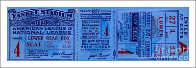 Drawing - Yankee Stadium 1927 World Series Ticket Babe Ruth Game by Peter Gumaer Ogden