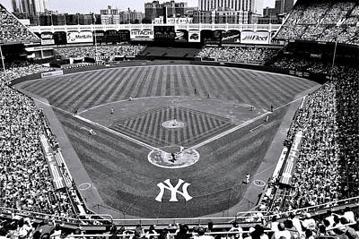 Photograph - Yankee Stadium - B And W by Allen Beatty