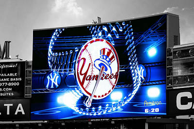 Photograph - Yankee Stadium Jumbotron Selective Color by Aurelio Zucco