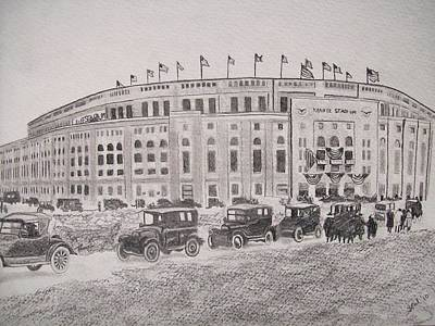Yankee Stadium Drawing - Yankee Stadium Original Sketch By Pigatopia by Shannon Ivins