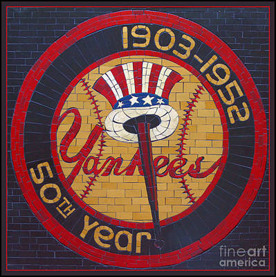 Yankee Stadium Painting - Yankees  50th Year by D Harmon