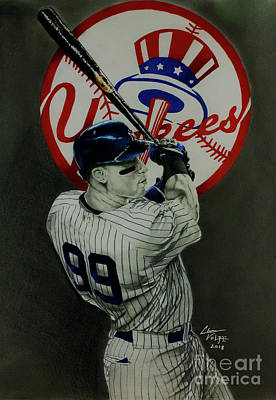 Babe Ruth Drawing - Yankees Aaron Judge #99 by Chris Volpe