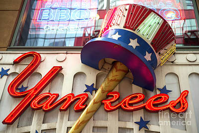 Photograph - Yankees Neon In Times Square by John Rizzuto