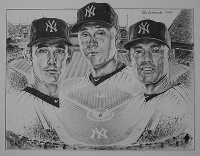 Sports Sketching Drawing - Yankees by Paul Autodore