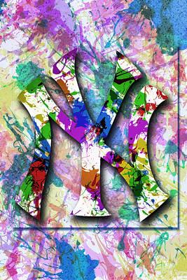 Yankees Digital Art - Yankees Splatter Art By Gbs by Anibal Diaz
