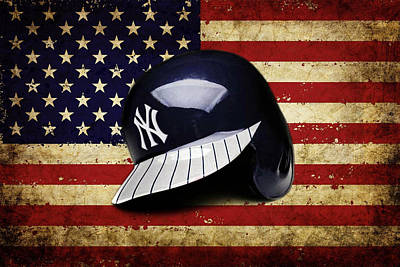Pastime Mixed Media - Yanks Batting Helmet by Dan Haraga