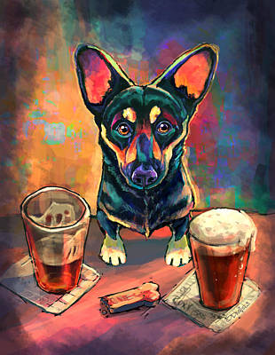 Food And Beverage Wall Art - Painting - Yappy Hour by Sean ODaniels
