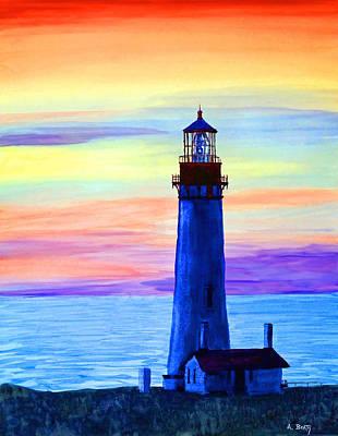 Oregon Lighthouse Painting - Yaquena Head Light by Aaron Beaty