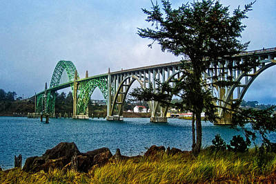 Yaquina Bay Bridge At High Tide Art Print
