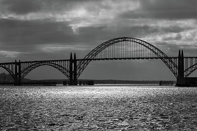 Yaquina Bay Bridge Photograph - Yaquina Bay Bridge Black And White by James Eddy