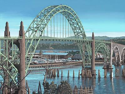 Yaquina Bay Bridge Painting - Yaquina Bay Bridge No. 1 by Andrew Palmer
