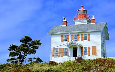 Art Print featuring the photograph Yaquina Bay Lighthouse by AJ Schibig