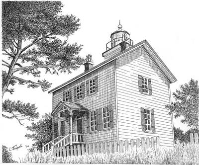 Drawing - Yaquina Bay Lighthouse by Lawrence Tripoli