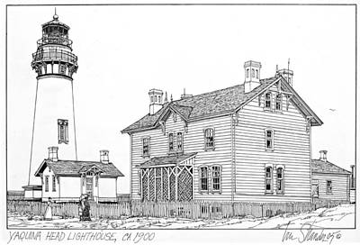 Lighthouse Drawing - Yaquina Head Light 1900 by Ira Shander