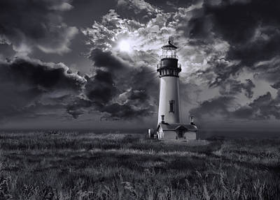 Storm Clouds Painting - Yaquina Head Lighthouse 3 by Bekim Art