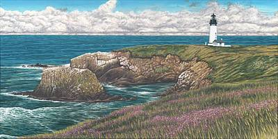 Historic Lighthouse Painting - Yaquina Head Lighthouse by Andrew Palmer