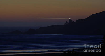 Photograph - Yaquina Head Lighthouse At Dusk by Rick Bures