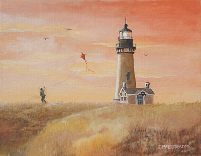 Yaquina Head Lighthouse Art Print by Jerry McElroy