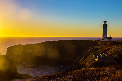 Yaquina Head Lighthouse Photograph - Yaquina Head Lighthouse Landscape by Garry Gay
