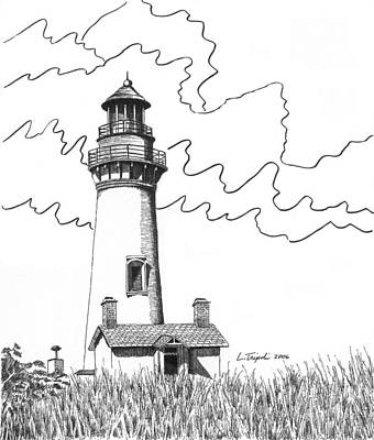 Drawing - Yaquina Head Lighthouse by Lawrence Tripoli