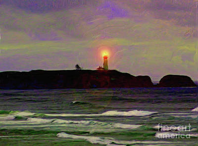 Painting - Yaquina Head Lighthouse by Methune Hively